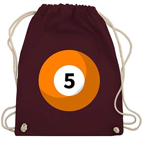 Karneval & Fasching - Billardkugel 5 Kostüm - Unisize - Bordeauxrot - WM110 - Turnbeutel & Gym Bag (Gruppe Kostüm Für 5)
