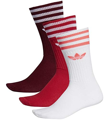 adidas Solid Crew 3 Pack, Socks Herren L Collegiate Burgundy/Scarlet/White