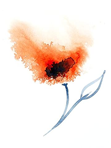 Signed Fine Art Print of Original Abstract Flower Painting in Orange - sizes available from 6 x 4 up to 16 x
