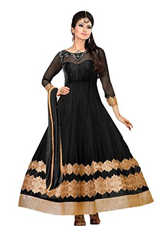 Clickedia Women's Heavy Net Semi-stitched Black Boat Neck Floor Length Anarkali Suit - Dress Material  available at amazon for Rs.499