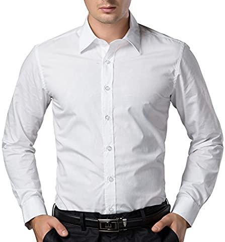 Cotton Shirts for Men White Long Sleeve Comfortable Fashion French Cuff Solid Color Korean Big and Tall (L) KL-3