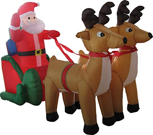 Lüllmann Weihnachtsmann Aufblasbar 210cm lang LED Deko Weihnachten Verschiedene Motive für Innen und Außen (XXL Weihnachtsmann im Schlitten 405006)