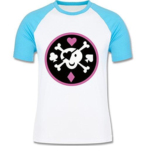Piraten & Totenkopf - Süßer Totenkopf - zweifarbiges Baseballshirt für Männer Weiß/Türkis