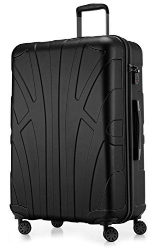 SUITLINE - Hartschalen-Koffer Koffer Trolley Rollkoffer Reisekoffer, TSA, 76 cm, 110 Liter,Schwarz
