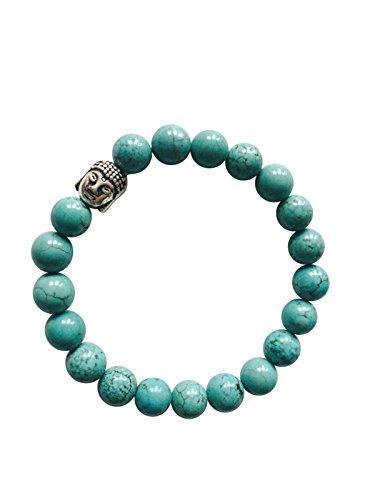 heit' echte natürliche Türkis Chakra Buddha Armband für Yoga Meditation Heilung - ethisch aus Indien - präsentiert in BellaMira Geschenkbox (Echte Türkis-halskette Für Frauen)