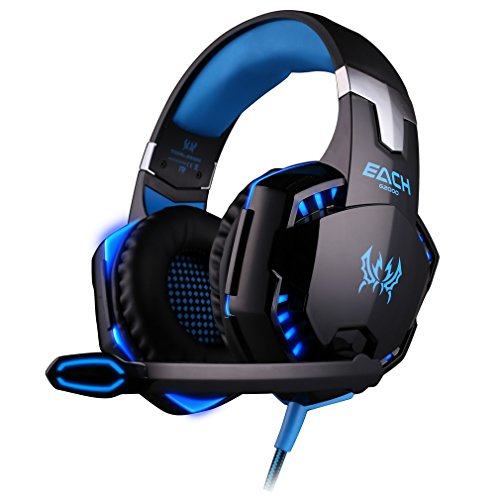 EACH G2000 Cuffie gaming Nero-Blue :Gaming Headphone con Microfono Stereo Bass LED Luce Regolatore di Volume per PC Blue