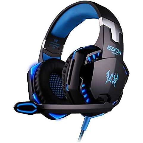 EACH G2000 Cuffie gaming Nero-Blue :Gaming Headphone