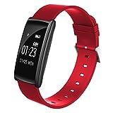HDWY Smart Armband mit Farbbildschirm Schrittzähler Kalorien Schlaf Monitor Entfernung Sportuhr Walking Lauf App für Frau und Mann (Farbe : Rot)