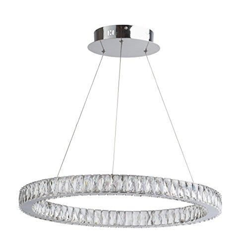 Lampadario sospeso splendido forma di anello colore cromo lucente metallo elementi cristalli decorativi moderno industriale (Art Deco Di Cristallo)