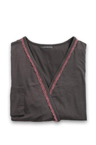 Esprit - diamond solid - haut de pyjama - uni - jersey - femme Marron (Ebony)