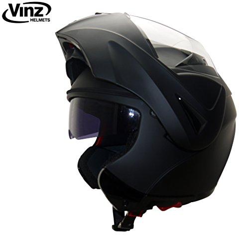 Helm Schwarz Motorrad (Vinz Klapphelm mit Sonnenblende | Matt Schwarz | Motorrad Helm Integralhelm | Motorradhelm Pinlock vorbereitet (L))