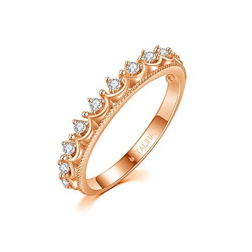 Solitärehering Ring Zirkonia Ring Prinzessin Kronen Ring für mädchen roségold plattiert 16.5mm ()