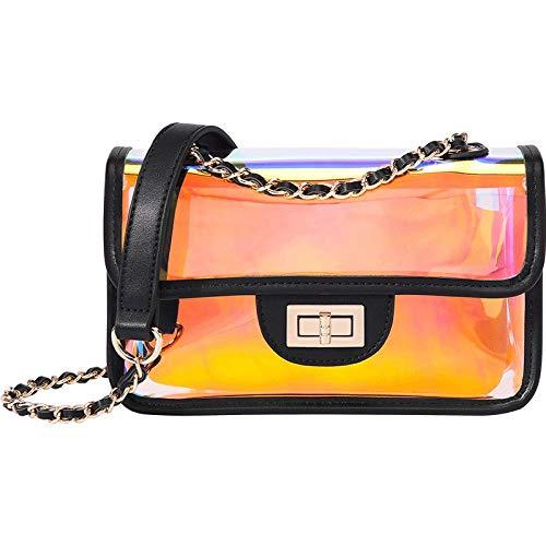 Neue Sommer Handtaschen Transparente Gelee Casual Chic Taschen Laser Taschen Schulter Messenger Bags Kette Totes Mode Schöne Trendy Edles Handtasche (Color : Schwarz, Size : One Size) -