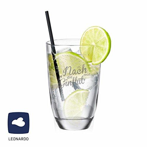Leonardo GIN-Glas Nach mir die GINflut - lustiger Partygag - für Gin Trinker - Geschenkidee für Weihnachten/ zum Geburtstag - für sie/ ihn