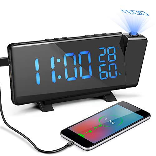 Laelr Reloj Despertador de Proyección, Reloj Despertador de Radio FM Digital Ajustable con Alarmas...