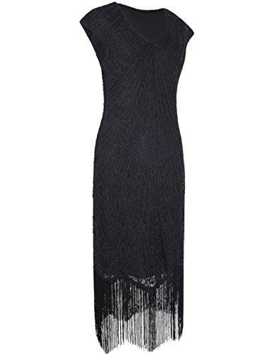 1920er Jahre Inspirert Perlen Art Deco Franse Spitze Flapper Kleid XL Schwarz (Plus Size Flapper Kostüme)