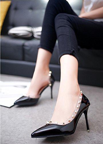 Minetom Été Chaussures Rivet Stiletto Pumps High Heels Talons Hauts Femme Escarpins Bouche Peu Profonde Pointed Toe Casual Filles Fête Mariage Noir