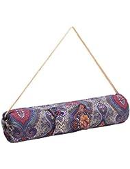 Bolsa de yoga »Rukmini« de #DoYourYoga / Hecha con un lienzo de algodón (lona) 100 %, con un bonito acabado / Para esterillas de yoga y pilates de hasta 186 x 62 x 0,3 cm / estampado en azul
