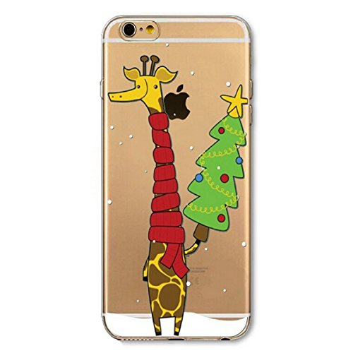 Coque iPhone 6S Rigid,iPhone 6 Coque en Soft Silicone TPU Transparente,Ekakashop Jolie Christmas Noël Neige Cerf Design Ultra Mince Crystal Clair Souple Gel Housse Coque Motif Protecteur Back Arrière  Noël Girafe