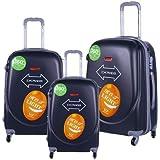 مجموعة من 3 حقائب السفر من اسودا، قياس(30،26،20) لون رمادي، 4 عجلات