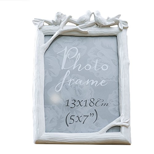 Preisvergleich Produktbild WOLFBUSH 7in Three Birds Resin Photo Frame Picture Frame Bilderrahmen Kunststoffrahmen Fotorahmen Home Decor (Vertical Type) - Weiß