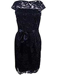 c51bbf19441 Adrianna Papell Womens Black Lace Cap Sleeve Illusion Neckline Above The  Knee Sheath Dress Size
