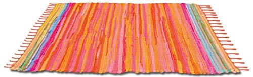 Bestlivings Flickenteppich handgewebter Teppich aus Baumwolle, stylischer und strapazierfähiger Fleckerlteppich in vielen verschiedenen modischen Ausführungen erhältlich (50 x 80cm / orange - Coral) (Orange Teppich, 5 X 7)