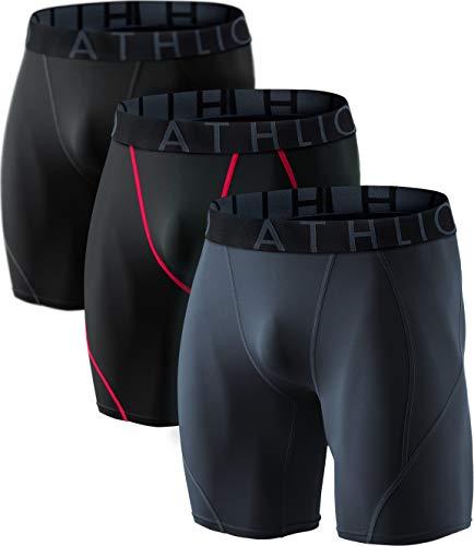 ATHLIO BPS06 Herren Kompressions-Shorts für Sport, 3 Stück, Jungen Damen Mädchen Herren, AO-BSP06-KRH, X-Large -