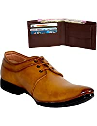 Platly Combo Of Formal Party And Office Wear Outdoor Leather Shoes + Lether Wallet For Men And Boys
