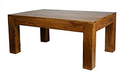 Sheesham Wood Coffee Table (Rosewood) Cube Modern Design 110X60Cm produced by Natural Living - quick delivery from UK.
