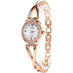 S&E Women's Cross Shape Dial Plate Crystal Studded Gold Plated Steel Strap Decor Wrist Watch