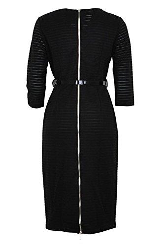 Elegantes Einfarbiges V Ausschnitt Streifen Kleid mit 3/4-Arm Figurformendes Knielanges Bleistiftkleid mit Gürtel Schwarz