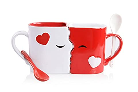 Kissing Mugs Set, Exquisitely Crafted Two Large Cups, Each with