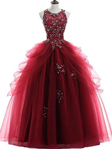 NUOJIA Prinzessin Quinceanera Kleider Tüll Ballkleider Lang Festkleid Burgund 32 (Burgund Kleid Quinceanera)