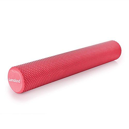 Lumaland Rullo per Pilates multifunzione rullo per ginnastica in schiuma dura rotondo con tacchetti di gomma per una migliore presa 90cm colore rosa