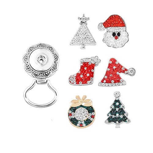 MJARTORIA Damen Mädchen Strass Button Brosche Geschenk Set Rot und Grün Weihnachtsbaum Weihnachtsmann Schneemann Anstecknadel für Brille 6pcs 5.1cmx3cm