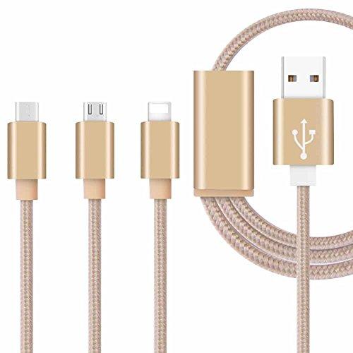 Fone-Case (Gold) 3 in 1 Ladekabel Nylon geflochten Mehrere USB - Lead 1 Meter Länge mit Blitz Kabel / reversible Typ C / Micro USB - Anschluss für ZTE Axon 7 Mini