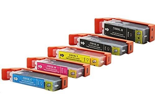 Preisvergleich Produktbild 5 kompatible Reinigungspatronen MIT CHIP für Canon PGI-550 / CLI-551 für Canon IP 7200 IP 7250 IP 8700 IP 8750 IX 6800 IX 6850 MG 5400 MG 5450
