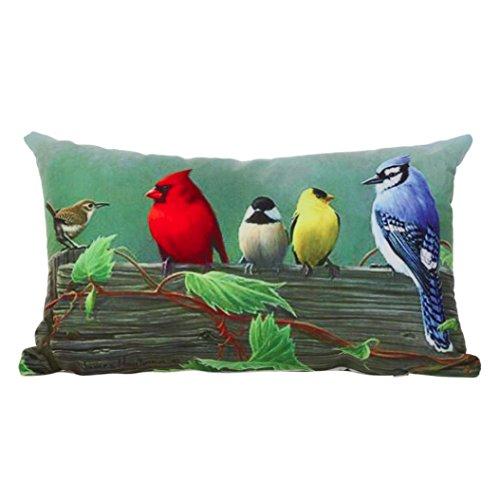 Kissenbezüge Longra Vogel Zeichnung Kissenhülle 30cm x 50cm Super Soft Kissenbezug Zierkissen Dekokissen Sofakissen home Sofa Deko (C) - Zeichnung Vögel