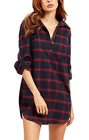 Damen Long Shirt Kariert Langarm Festliches Elegant Blusenkleider Mit Knöpfen Lockere Mit Taschen Langarmshirts Bluse Shirts Rot