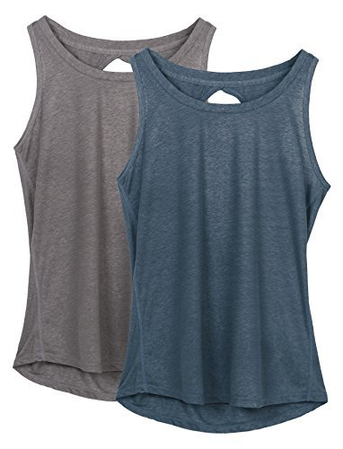 icyzone Damen Yoga Sport Tank Top - Rückenfrei Fitness Shirt Oberteil ärmellos Training Tops (M, Grey/Navy