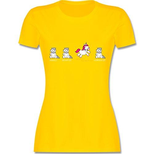 Sonstige Berufe - Krankenschwester Einhorn - XXL - Gelb - L191 - Damen T-Shirt Rundhals (Gelben T-shirt Krankenschwester)