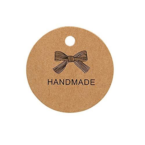 Kraftpapier Tags Geschenkanhänger Runde braun Kraftpapier Tag Karte für Hochzeit Gefälligkeiten, personalisierte Handwerk, Bonbonniere, Geburtstag, etc (100er Hand gefertigt)