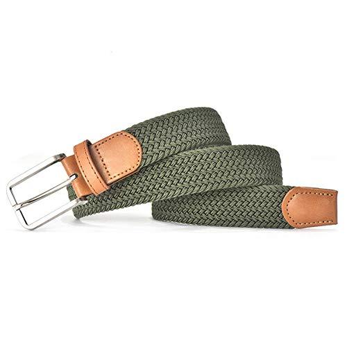 AQGY Gürtel Farbe Lässig Strickgürtel Weben Leinwand Elastischer Stretchgürtel Unistoff Gürtel Metallschnalle Schwarz 130cm Armeegrün