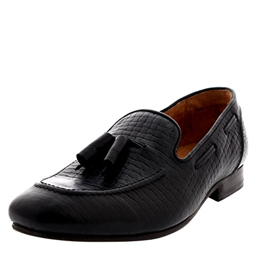 H by Hudson Homme Pierre 2 Calf Stamp Loafer Shoes, Marron Noir