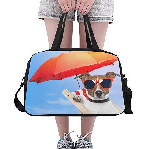 Plosds Sonnenbrille Cool Dog Animal Große Yoga Gym Totes Fitness Handtaschen Reise Seesäcke Schultergurt Schuhbeutel für die Übung Sport Gepäck für Mädchen Männer Frauen Outdoor