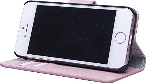 JT Berlin 10100 LederBook Magic Schutzhülle für Apple iPhone 7 Plus / 8 Plus (Echtleder, Handarbeit, Standfunktion, Kartenfächer, Magnetverschluss) cognac LederBook Style - rose