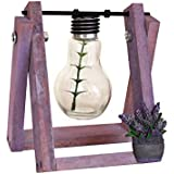 TIED RIBBONS Bulb Planter Vase With Retro Solid Wooden Stand And Metal Swivel Holder For Shelf, Office, Study Table, Desktop, Table(15.5 Cm X 11.5 Cm X 10 Cm, Wood And Glass)