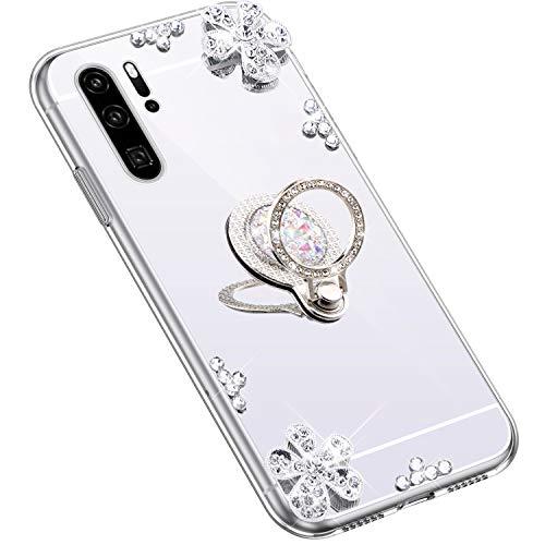 Uposao Kompatibel mit Huawei P30 Pro Hülle Glitzer Diamant Glänzend Strass Spiegel Mirror Handyhülle mit Handy Ring Ständer Schutzhülle Transparent TPU Silikon Hülle Tasche,Silber