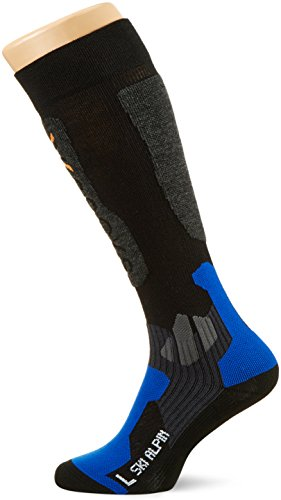 X-Socks Funktionssocken Ski Alpin, Black/Cobalt Blue, 45/47, X020412 (Italienischer Wolle Snowboard Socken)